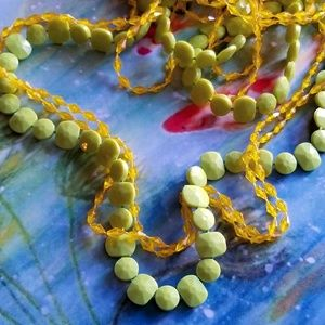 Vintage green and yellow long necklace hippie